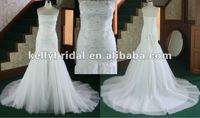 Hot sale! lace&baeding fish tail tulle train bridal gown 2013