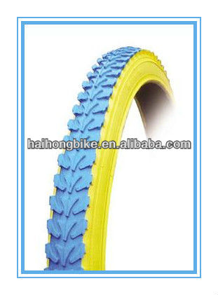 Hot sale blue and yellow color road bicycle tyre/tire,colored cycle bicycle tires approved ISO9001