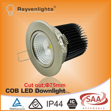Australian standard dimmable 240v 12w led downlight White/Chrome Ceiling Frame