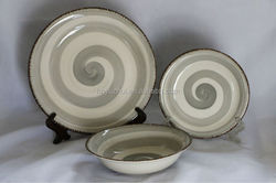 Hand-painted circle stoneware dishes and bowls, dishwasher and microwave use