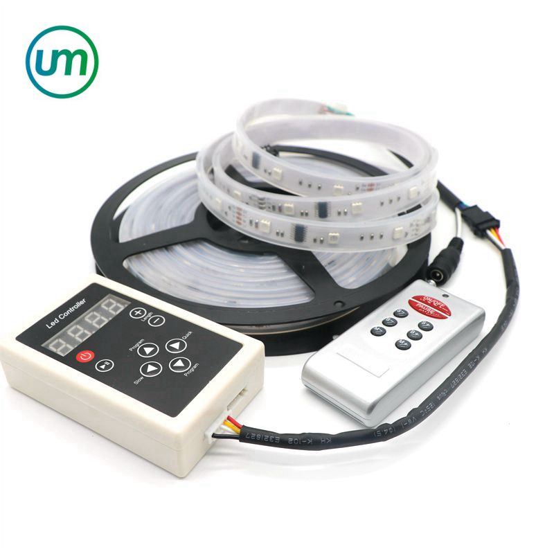 5M 12V 6803 IC Dream Color RGB LED Strip 5050 SMD 30LED/m IP67 Waterproof Chasing Magic Color Tape + 133 Program RF Controller