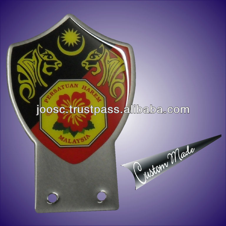 Silver Plated Metal Printing Vehicle Badge