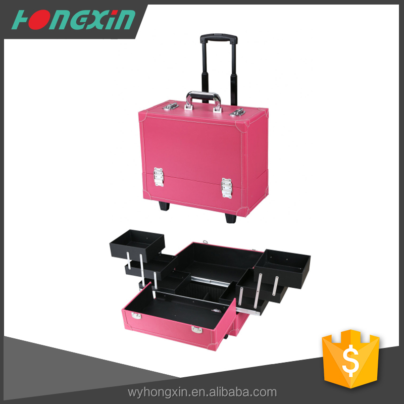 factory supply beautiful design makeup case on wheels