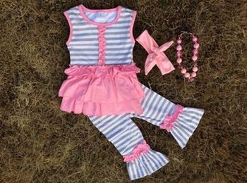2015 new fashion baby girl ruffle outfit little girls dress suits girls skirt top capri pant 2 pc set