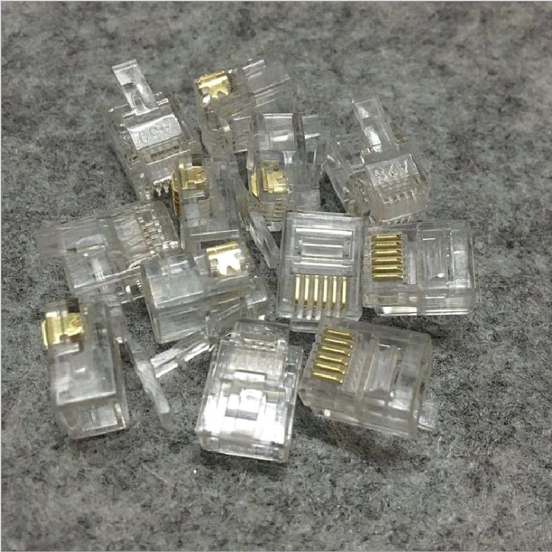 6Pin Crytal Connector RJ11 RJ12 Plug/Connector 6P6C For Stranded Phone Cable Microphone 1000 pcs/pack
