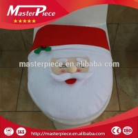 christmas ornament bathroom cloth Santa toilet seat cover and rug set for christmas decoration 3pcs/Set