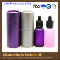 Trade assurance 30ml e liquid bottle glass dropper with pearl paper tubes cylinder purple and pin,grey color