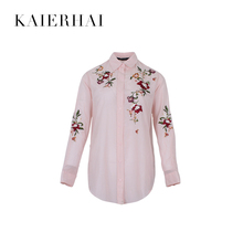 China manufacturer embroidered Korean pink blouse fashion tops