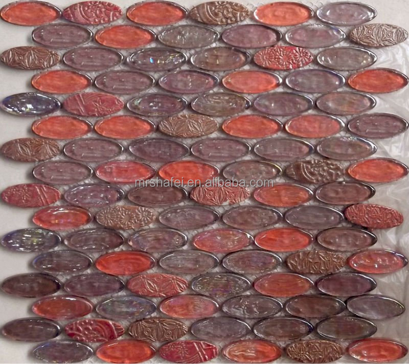 mix color irregular oval shape glass mosaic wall tile