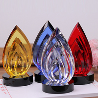Colorful Flame Shaped Crystal Trophy Glass Awards