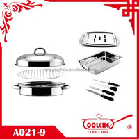 9pc Stainless Steel Mini Chicken Roaster 32cm poultry roasting pan set