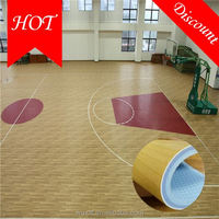 2016 hot sale top quality non-slip best pvc sports basketball flooring for sale