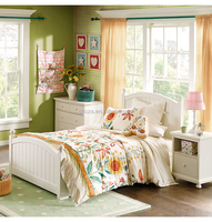 F40007A-1 Lovely white wooden kid bed for kids simple design bed from China