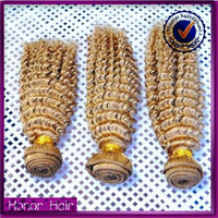Factory price grade 7a blonde kinky curly unprocessed virgin indian remy hair for cheap