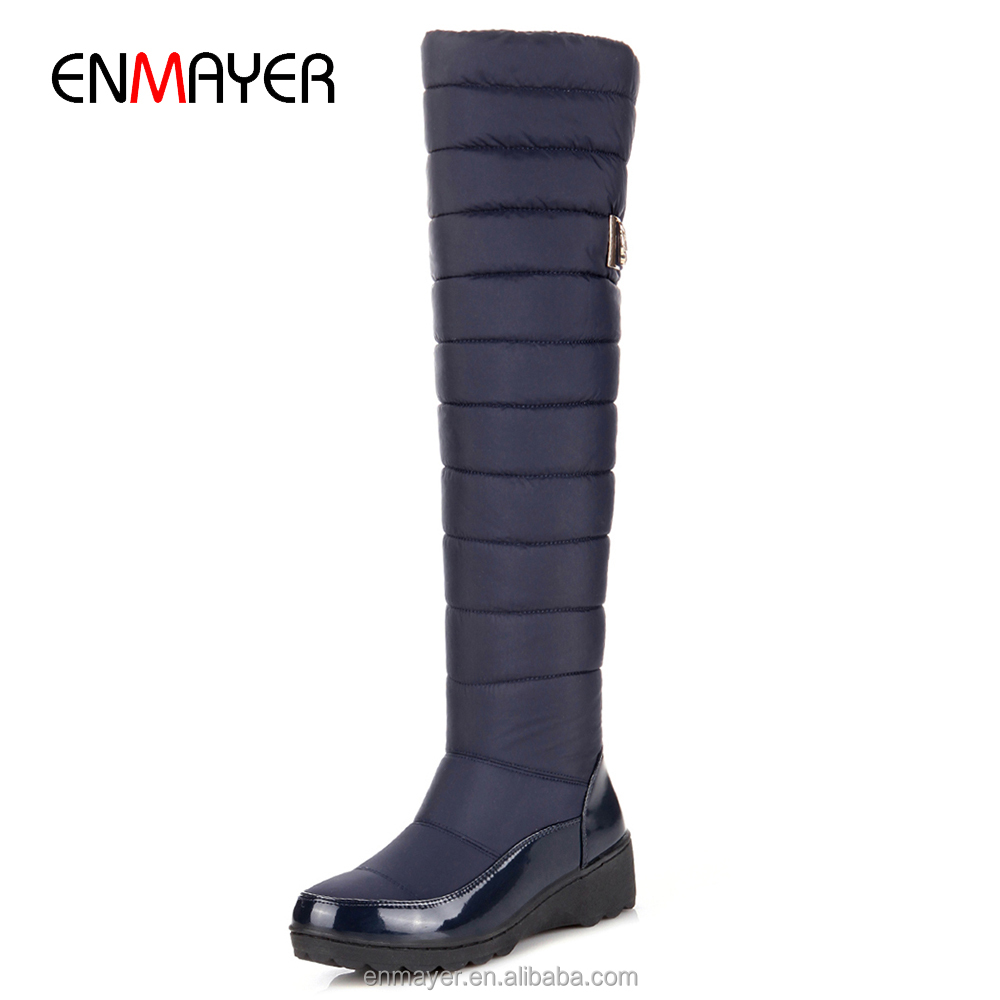 The latest designed eiderdown cotton upper plush lining overkonee fox lady wedge boots