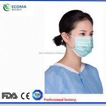 non woven and disposable face mask , 3 ply with ear-loop / with ties on Type , CE and FDA certification approved