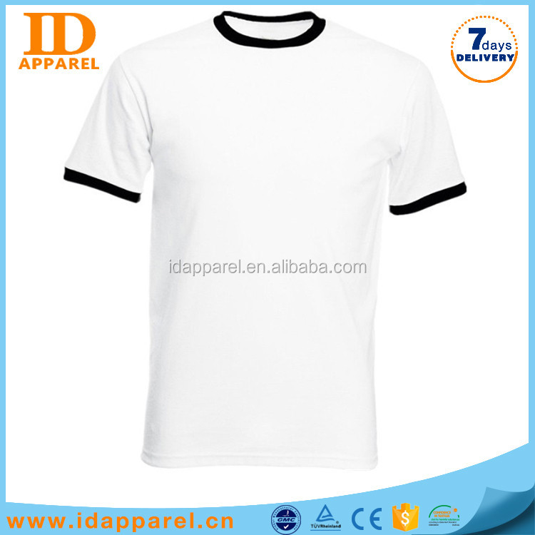 wholesale cheap import 100 polyester wide collar white blank t shirt