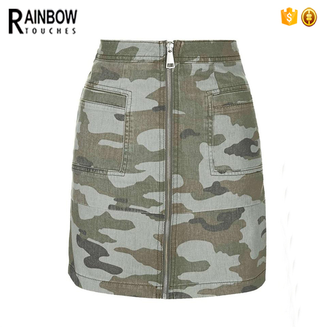 Cool look zip up short camo pencil skirt