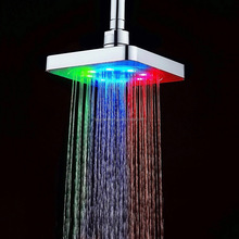6 inch LED temperature control change color LED round top head shower