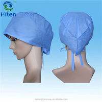 Sterile Disposable SMS Hair Medical Surgical Doctor Cap With Guiding Ties back