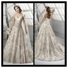 (MY23garl) MARRY YOU Sweetheart Beaded Gold Lace Ball Gown Wedding Dresses China