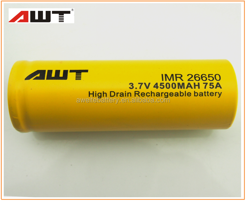 AWT 26650 4500mAH 75A 3.7V li ion battery for therion dna 75 sx350j