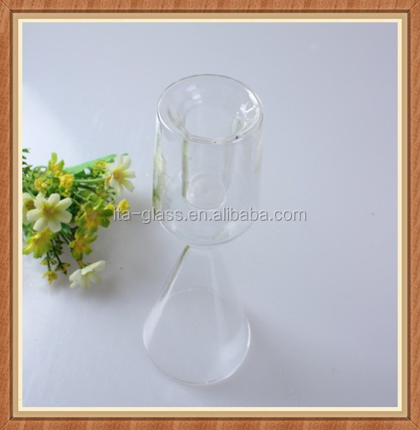 China promotional new fashion handmade bubble goblet clear glass stem candle holder