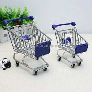 Mini Supermarket Shopping Handcart Trolley, Home Decorations, Children toy cart F0082