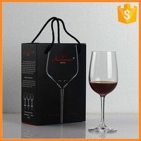 Personalized custom paper wine glass packaging boxes with handle