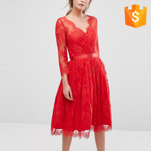 Luxury Red Long Sleeve Mermaid Evening Dress For Women