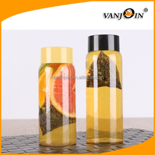 550ml Transparent Voss Style Cylinder Bottle with Black or Silver Cap