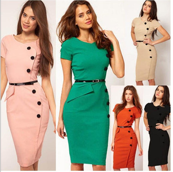onenweb hot sale 2015 New Fashion OL Women Ladies Office Dress Clothes Knee-length Bodycon Slim Pencil Party Dress