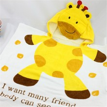 Hot sales Customized cartoon bee yellow printed design Baby Hooded Bath Towel