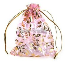 ozs110915008 Pink-- Organza Roses Wedding Favors printed organza gift bag