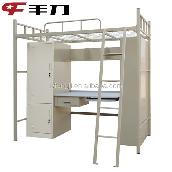 College Used Metal Bunk Bed With Study Table Wardrobe