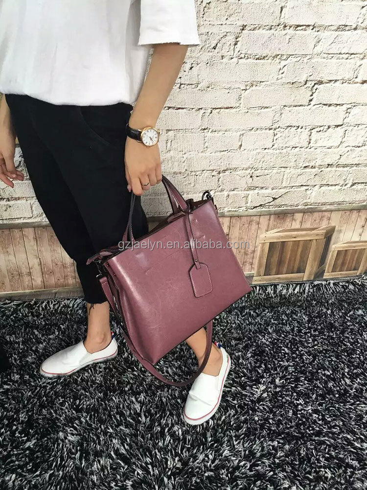 stock goods top quality fashion designer wax vintage leather handbags for women genuine leather shoulder bags purses women tote