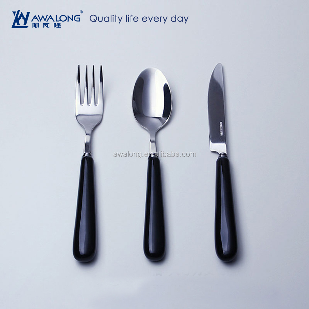 Western Style Stainless Steel Spoon And Fork Set With Ceramic Handle, Knife And Fork Set