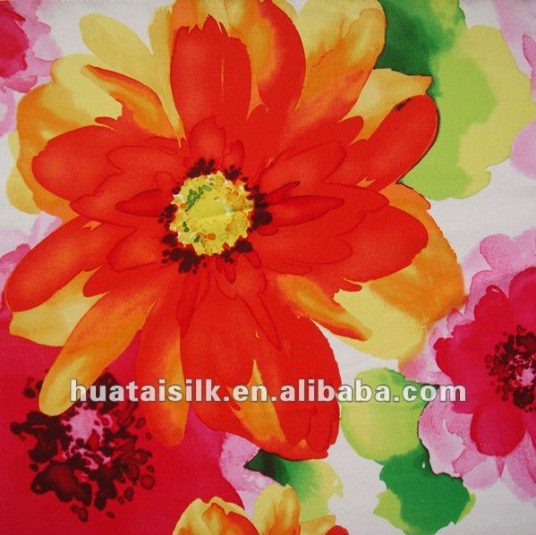 Italian Silk Fabric with water color printing (0802038)
