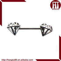HT New Fashion Double Diamond Design Body Piercing Nipple 316L Surgical Steel Nipple Ring Clicker Piercing Body Jewelry