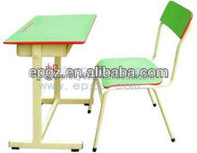 Metal frame with wood top student furniture desk and chair for sale