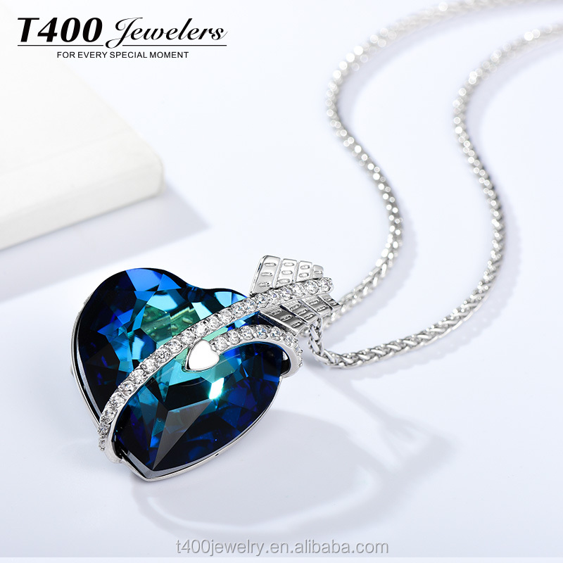 T400 Jewelers heart shaped Pendant Necklace made with swarovski elements 12106