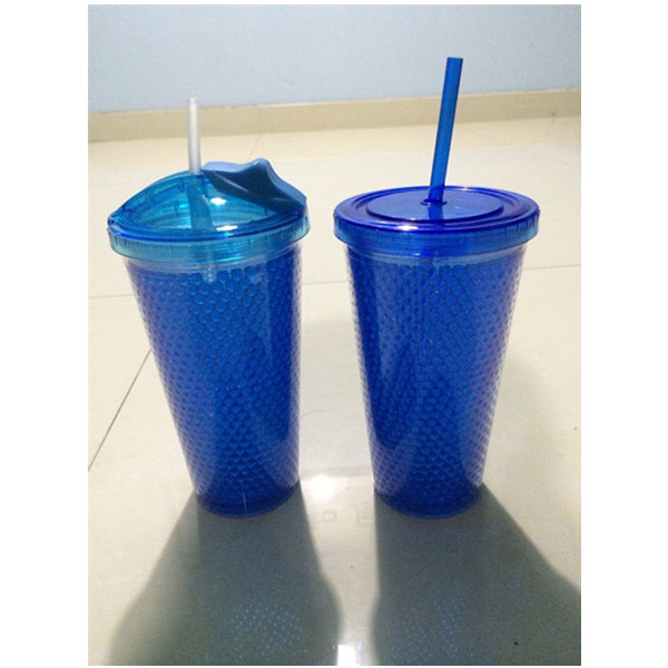 Double Wall Plastic Straw Cup Starbucks Mug Cold Drinking Mug with Freezer Gel 450ml