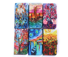 Good Quality Fancy Oil Design Wallet Cover PU Flip Cover For Iphone 5 Case With Card Slots