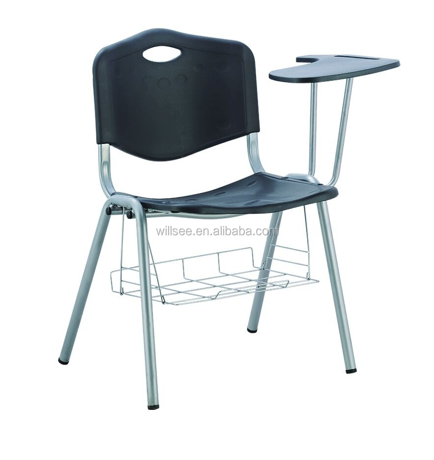 HE-093,Cheap Plastic PP Folding Chairs ,PP Schoold chairs with writing pad & book basket,portable training chair