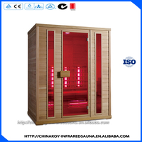 Over 3 person solid wood computer control panel infrared sauna room 04-K61