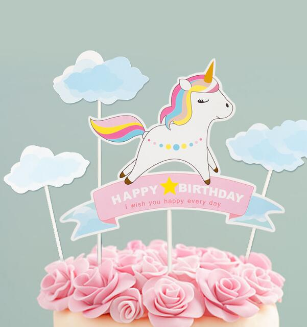 Blue Unicorn Birthday Cake ToppersCake Decorations For Kids Party Supplies