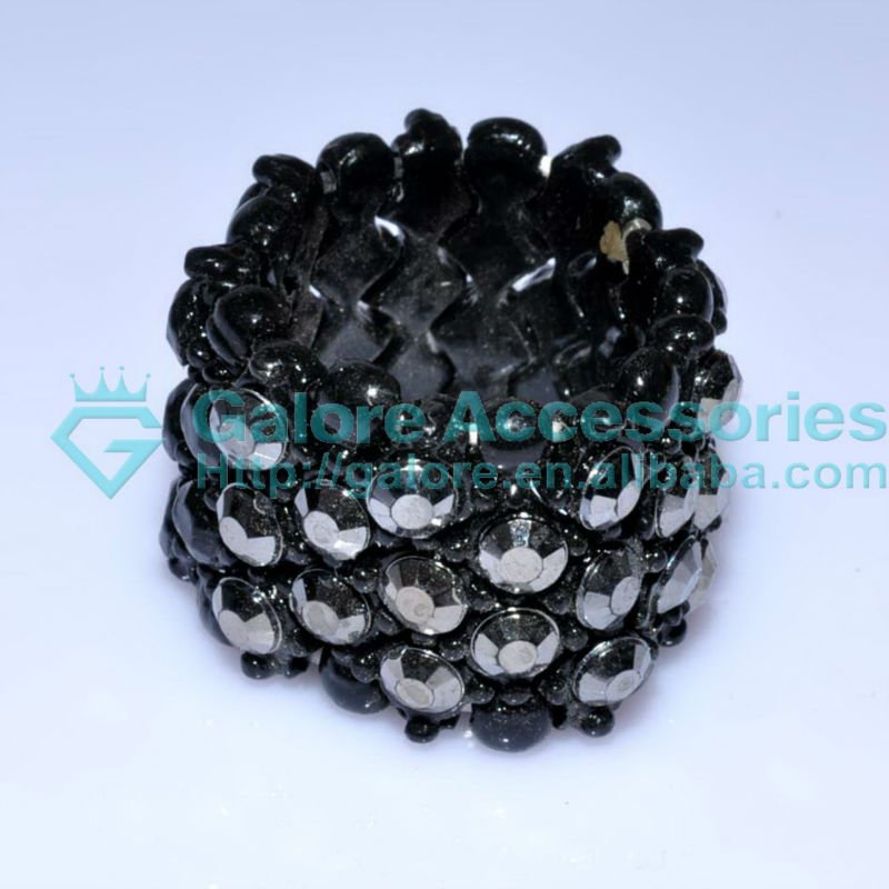 supplier make black beads elastic stretch ring