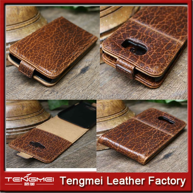 Buffalo Bison light brown Leather Case Cover Wallet For Samsung Galaxy S6 edge