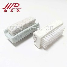 double side nail cleaning brush with pumice stone
