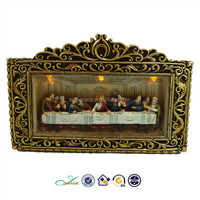 2015 new religious supplis resin the last supper LED table piece